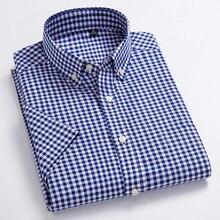 Высококачественные мужские повседневные рубашки в Оксфордском стиле, клетчатые мужские рубашки для отдыха, хлопок, мужские рубашки с коротким рукавом