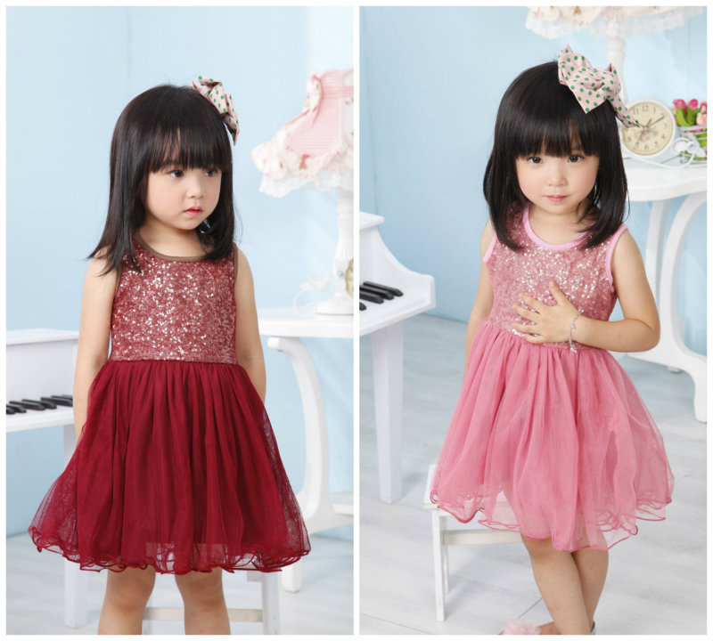 2015 kids clothes for girls toddler baby sequin tulle ...