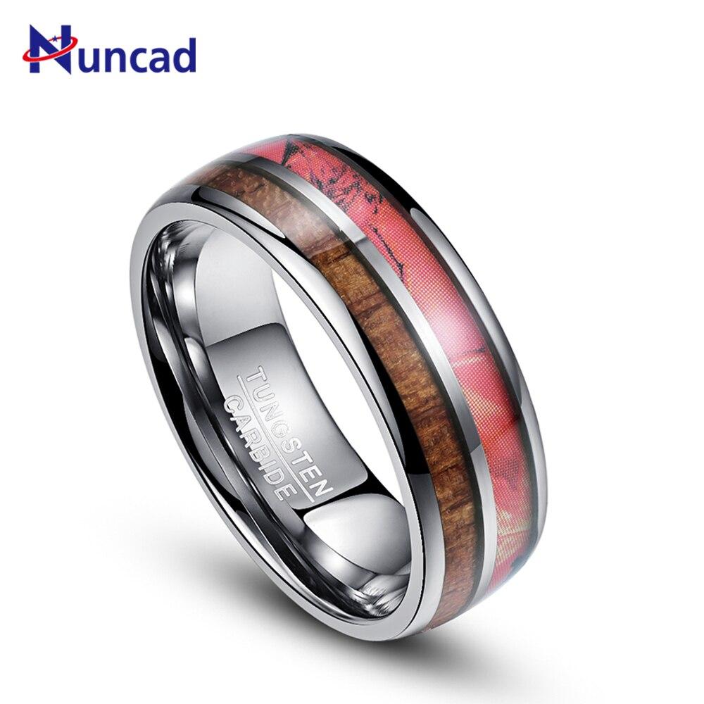 Nuncad T087R 8 mm bred rød camouflage wolframcarbid ring artiskok, wolfram ring fuld størrelse 7-12 til Herre