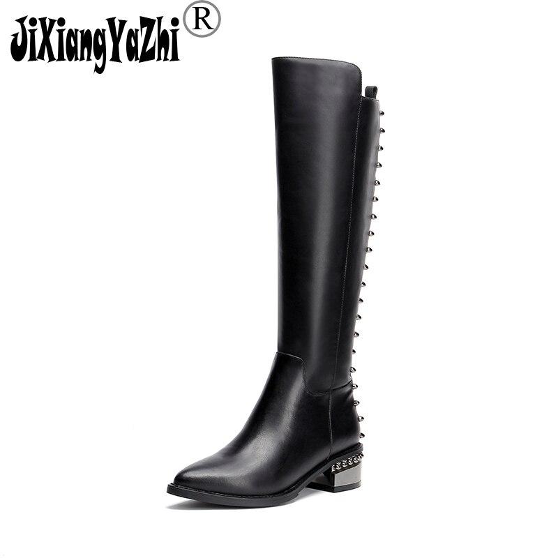JIXIANGYAZHI Marque 2018 Hiver De Mode En Cuir Véritable Noir Boot Srivet Med Bout Rond Zip Genou-haute chaussures de Femmes # B-099