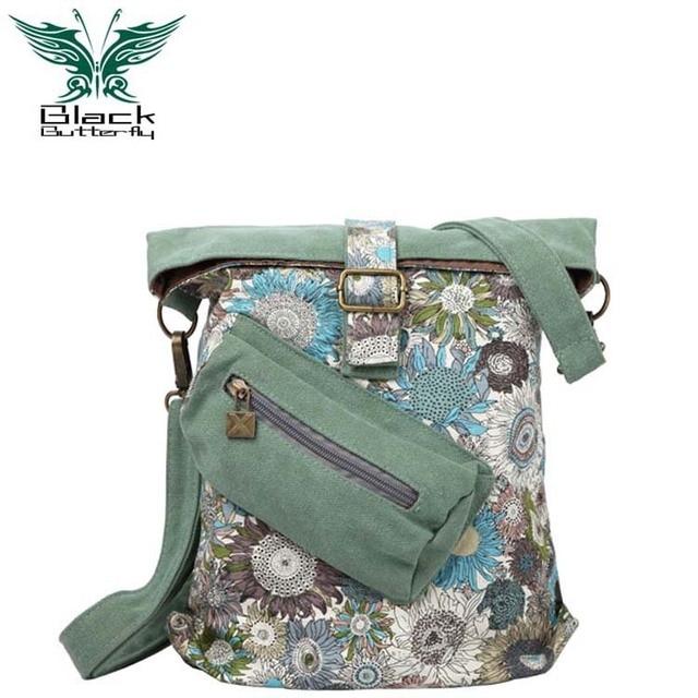 Black Butterfly Fashion Female Mini denim single shoulder bag  handbag Women National style printing diagonal canvas bag