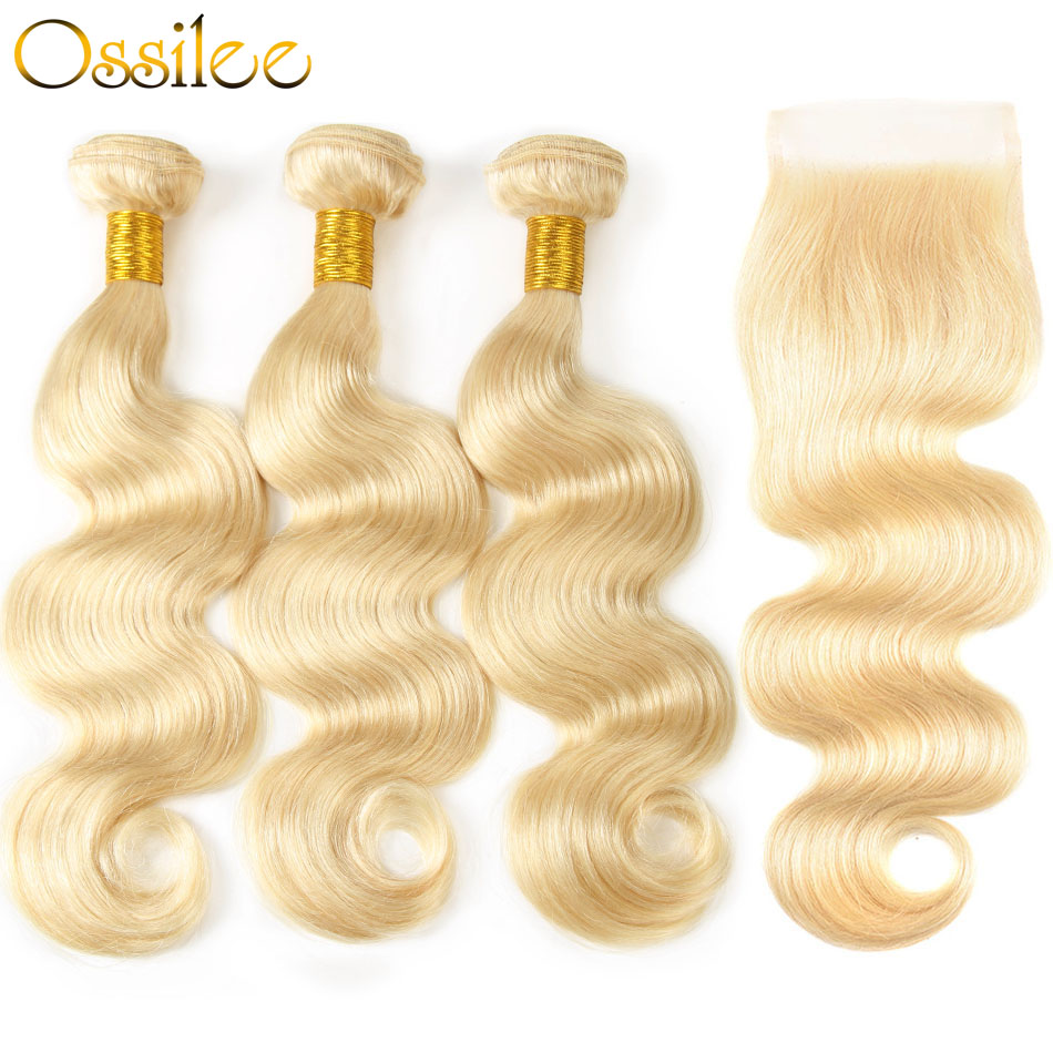 Ossilee 613 Bundles with Closure Blonde Bundles with Closure Brazilian Body Wave Bundles with Closure Non Remy Hair Bundles