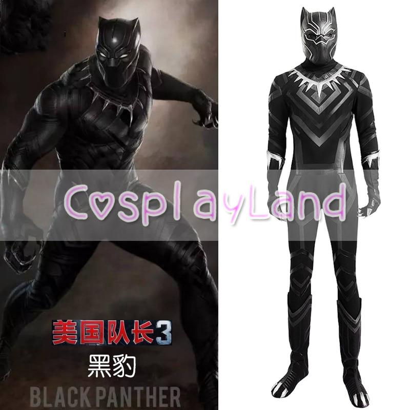 Black Panther Costumes Vuxen Halloween Kostym Kapten Amerika - Maskeradkläder och utklädnad