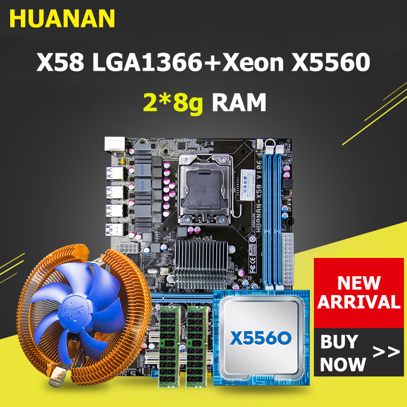 HUANAN ZHI X58 LGA1366 bundle carte mère avec CPU RAM refroidisseur CPU Xeon X5560 RAM 16G (2*8 g) DDR3 REG ECC tous testés avant bateau