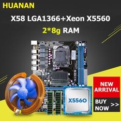 HUANAN ZHI X58 LGA1366 płyta główna pakiet z CPU RAM chłodzenie procesora Xeon X5560 RAM 16G (2*8 g) DDR3 REG ECC wszystkie testowane przed statkiem w Płyty główne od Komputer i biuro na