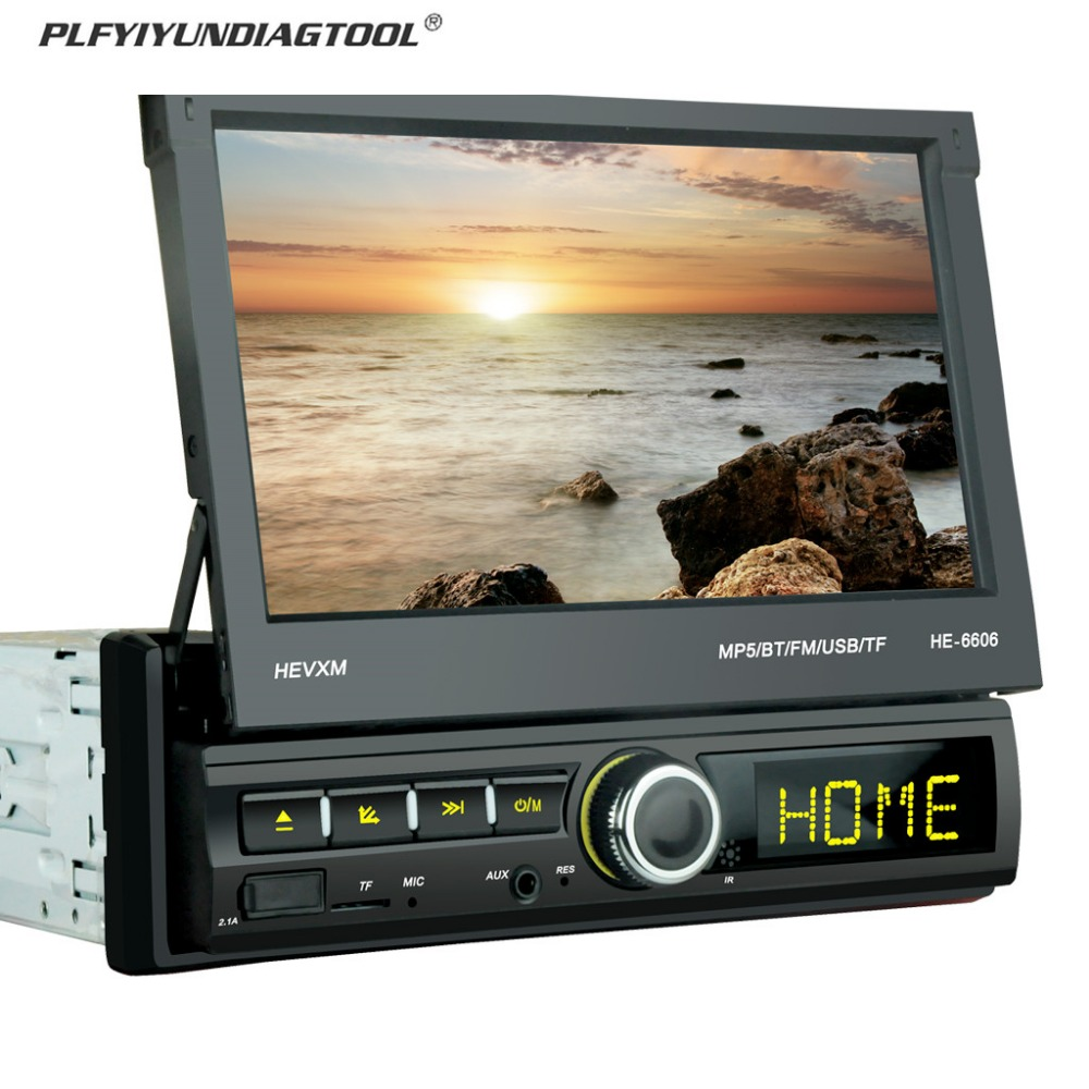 Link-Radio Retractable-Screen 1din Android Car-Mp5-Player Cellphone Multimeia 7-Rearview-Camera
