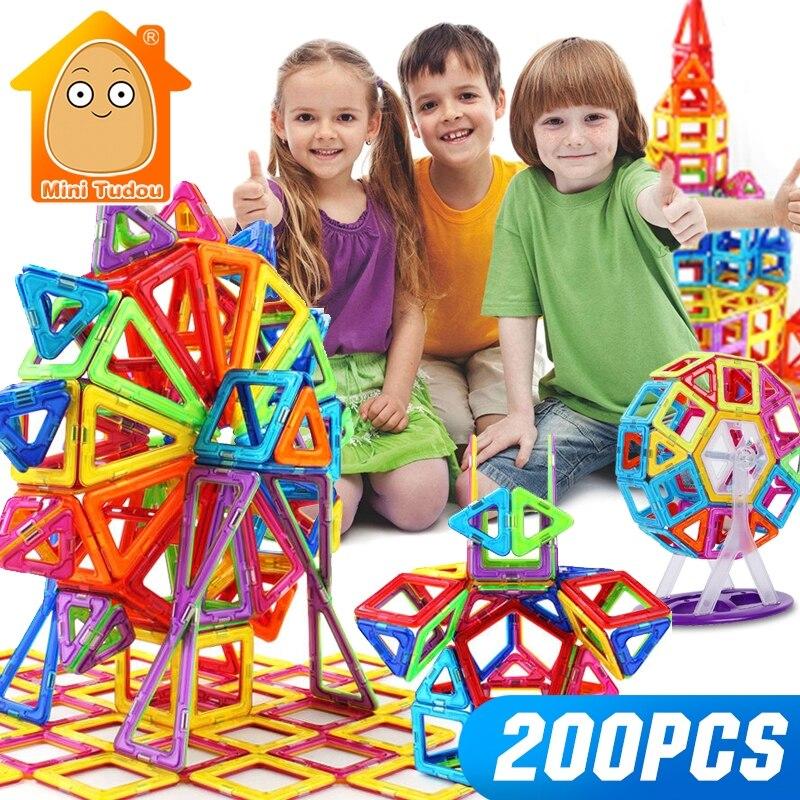 Mini 200 pces-46 pces fabricante magnético brinquedo para meninos meninas blocos de construção magnético ímã brinquedos educativos para crianças