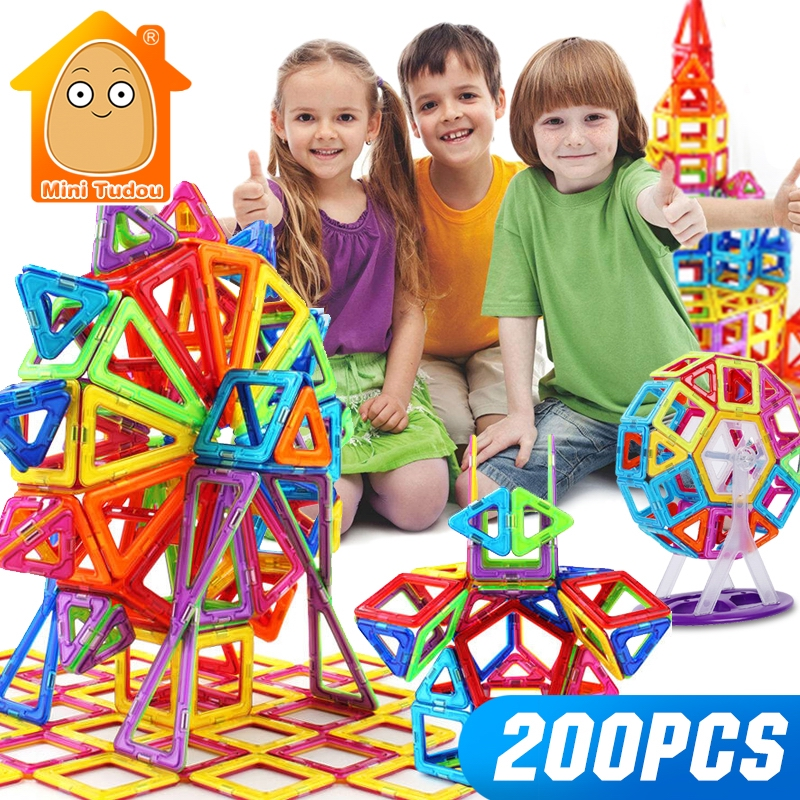 Mini 200PCS-46PCS Magnetic Designer Constructor Toy For Boys Girls Magnetic Building Blocks Magnet Educational Toys For Children