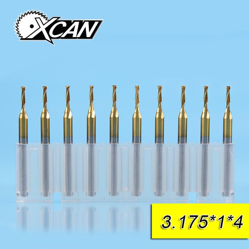цена на XCAN 10pcs 1mm Tungsten steel Flat End Mills with 2blade cutting edge 4mm 3.175 shank CNC drill bit for wood/plastic cut