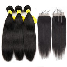 hot deal buy queen like products human hair weave bundles with closure non remy weft 3/4 bundles brazilian straight hair bundles with closure