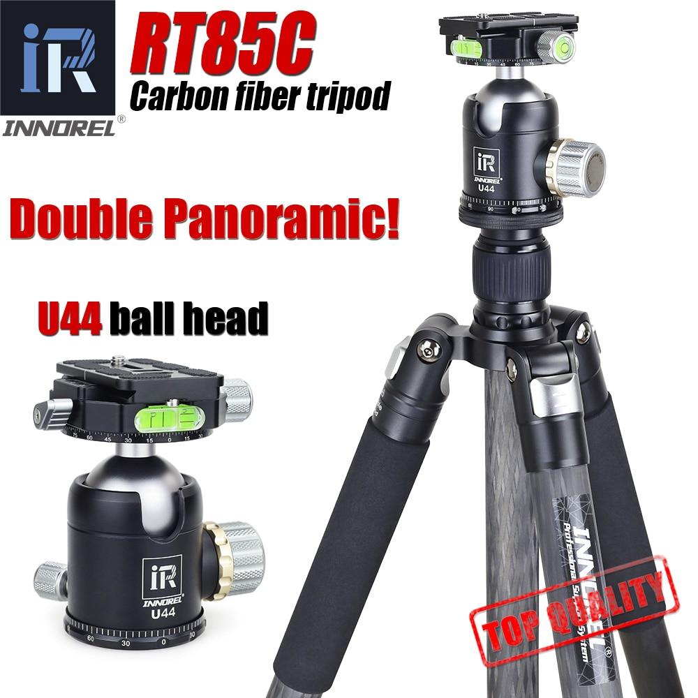 INNOREL RT85C Excelente fibra de carbono tripé para câmera digital DSLR camera heavy duty stand duplo Profissional panorâmica bola cabeça