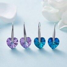 Silver Color Bule Stone Heart Shape Dangle Earrings Genuine Women Fine Wedding Jewelry