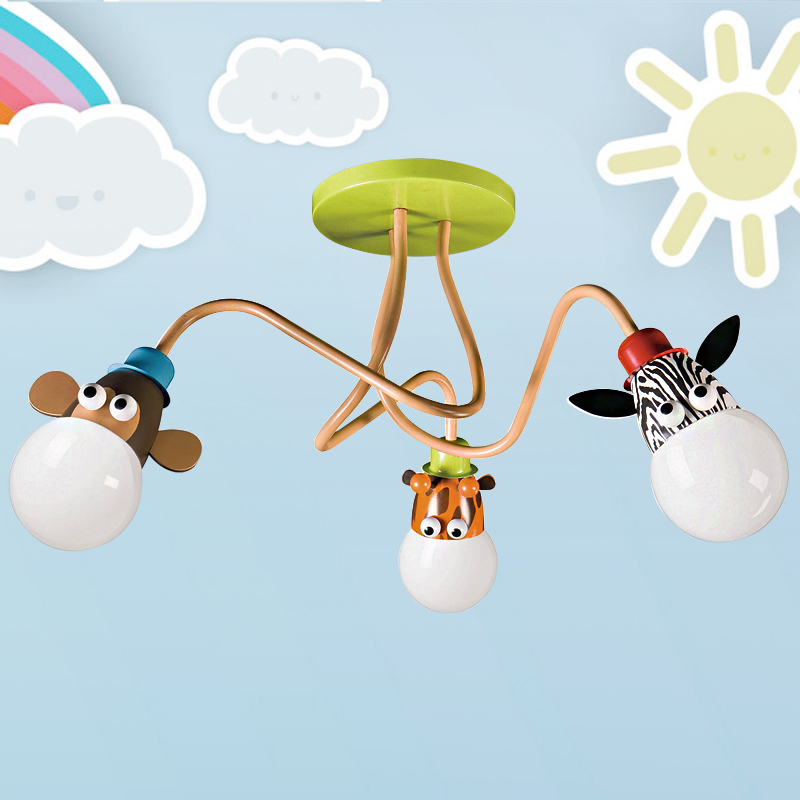 modern children's room cartoon Monkey zebra ceiling light for bedroom lamp child room deco cute 3 type single light pendant lamp kids bedroom cartoon animal giraffe monkey zebra 110 240v hanging lamp