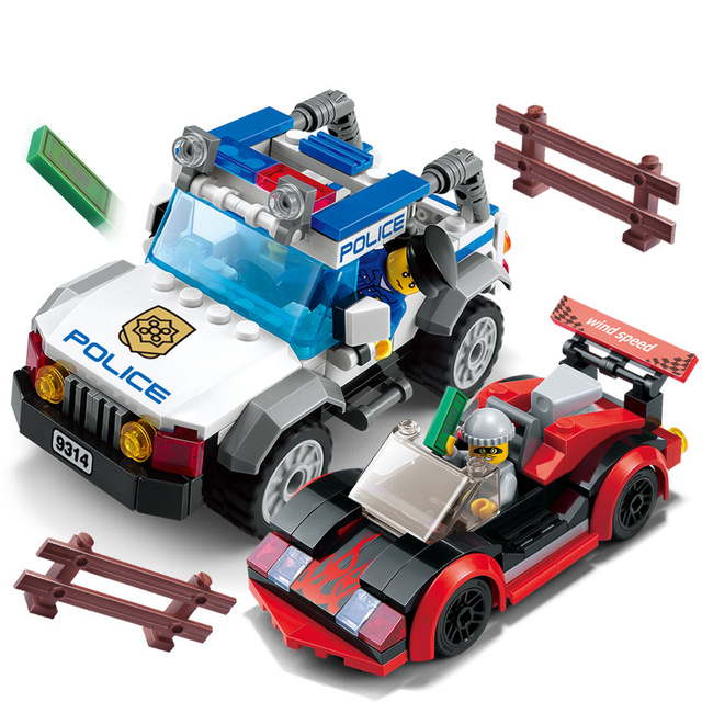 Models Building Toy 9314 264pcs City Police Speed Chase Car Building