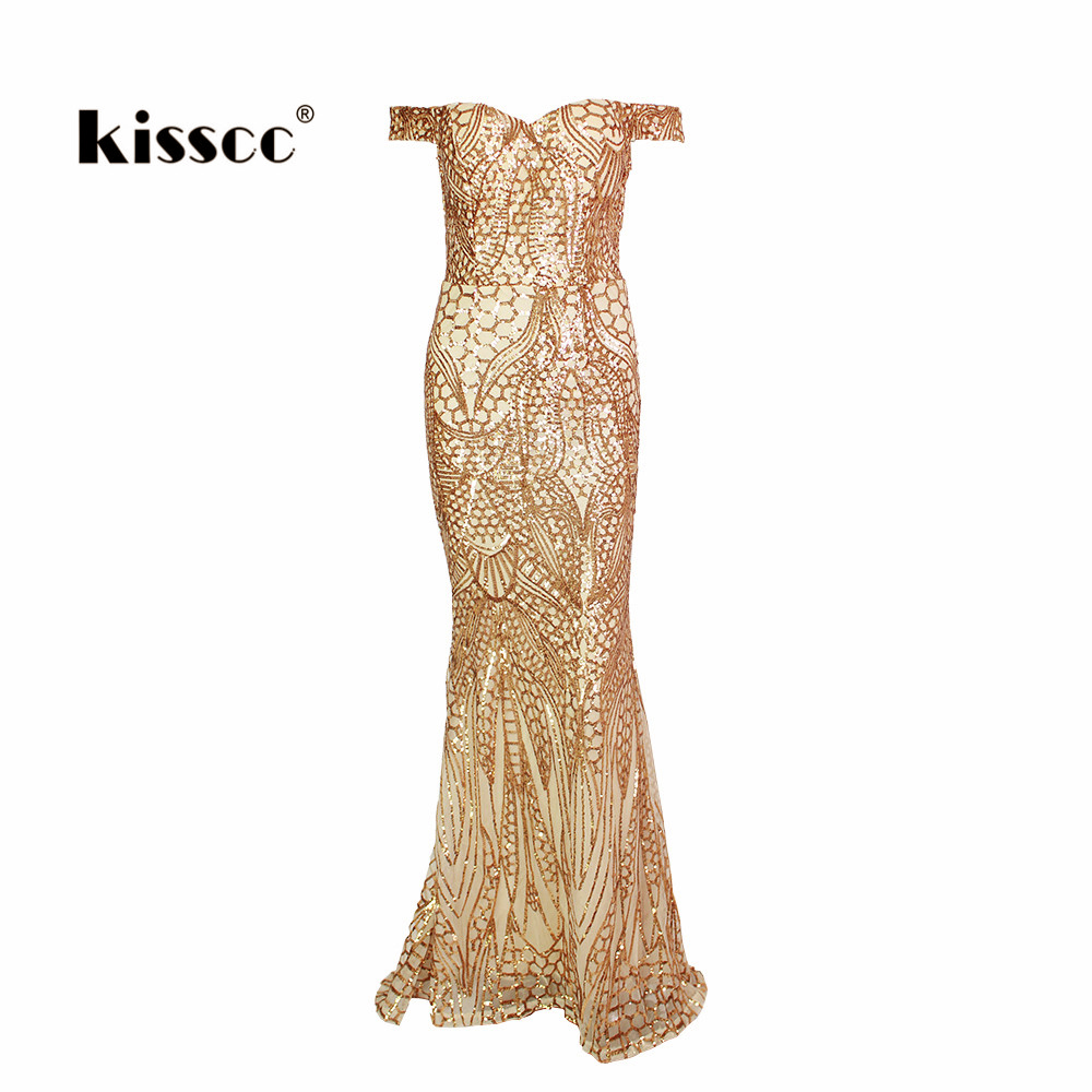 Sexy Sequined Off Shoulder Maxi Party Dress Lining Low Cut Floor Length Dresses Gold Glitter Evening Gown Dress