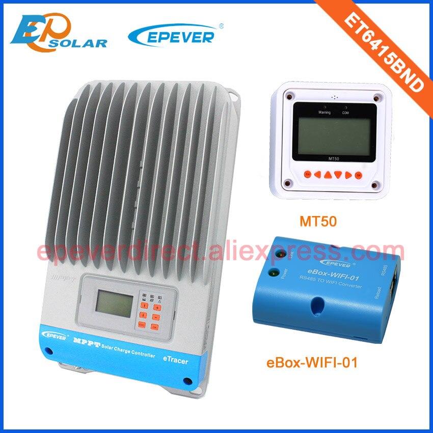 Contrôleur de Charge ET6415BND de régulateur de batterie de panneau EPsolar de 12 V/24 V/36 v/48 v MPPT avec la fonction blanche MT50 et wifi