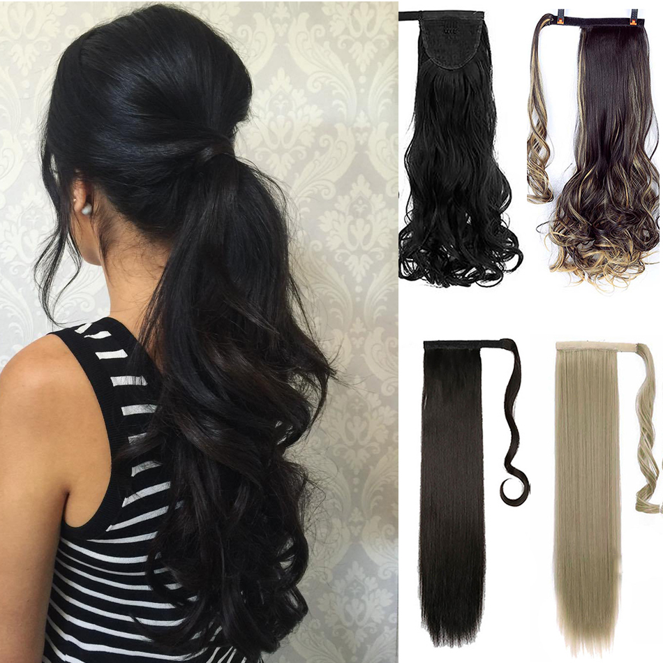 MUMUPI Girl Long Straight Curly Wavy Ponytail Hair Piece Natural Drawstring Clip in PonyTail Hair Extensions   headwear