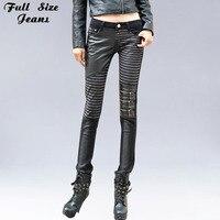 Autunno Inverno Chi Moda In Pelle Patched Elastico Denim Jeans S XS 4XL Plus Size Vita Bassa Sexy Sottile Dei Pantaloni Della Matita