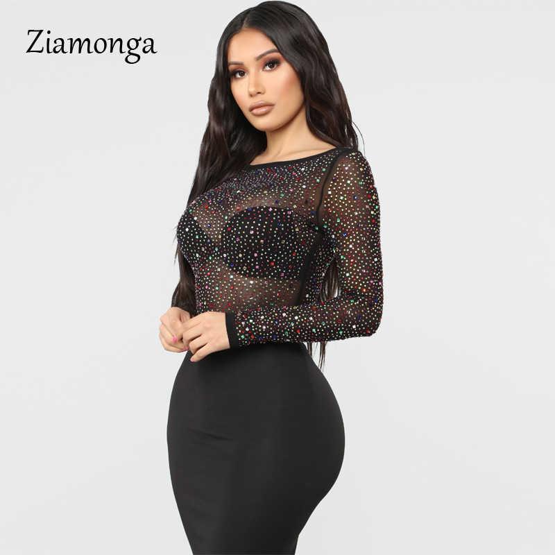 Zionga черный с вырезом «Лодочка» пикантное прозрачный комбинезон для женщин перспективная сетка шипованные бриллианты Джемперы и Комбинезоны женские топы
