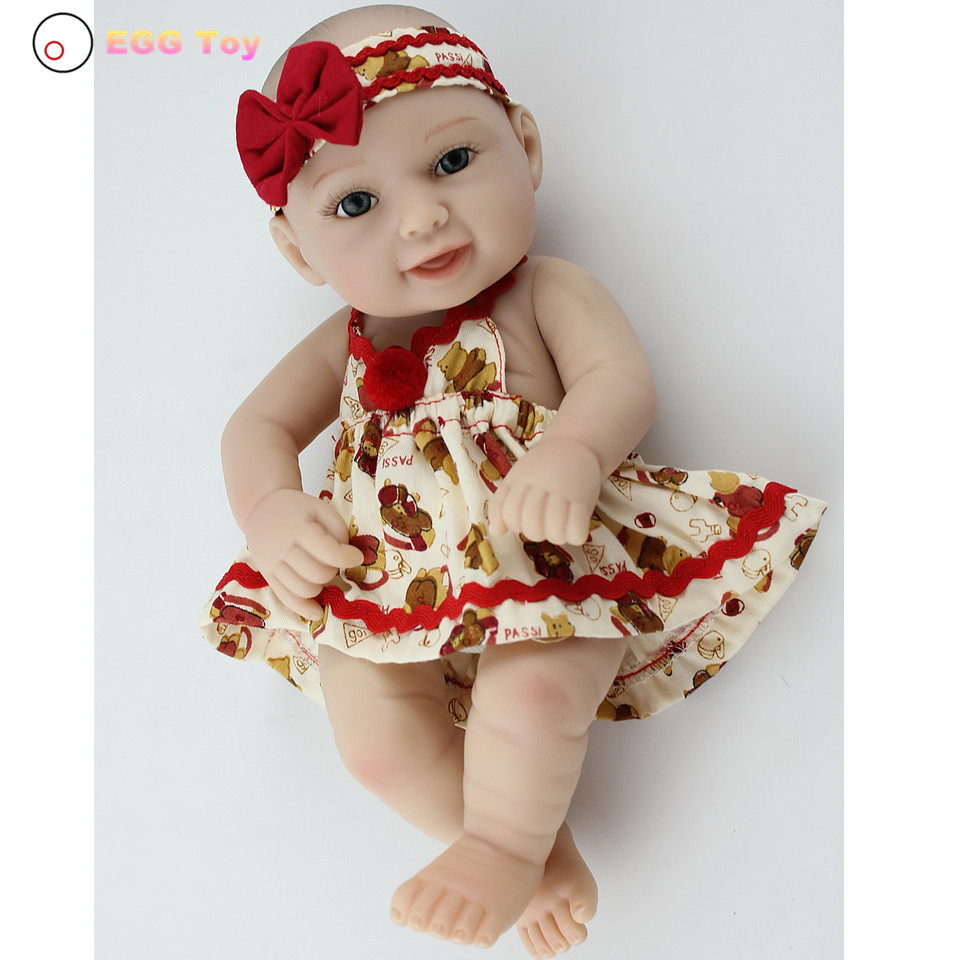 ФОТО Dress Full body Silicone Reborn Baby Doll Toys 28cm American Lifelike Baby Girls Doll Play House toy Reborn Doll Educational toy