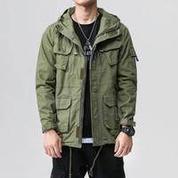 Fashion Cargo Jackets Men's Vintage Hooded Jackets Coats Streetwear Army Green Bomber Jackets Multi Pockets Windbreaker Ds50273