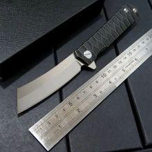 High Quality Bearing folding knife blade knife D2 steel 58-60HRC tanto point blade TC4 titanium alloy handle knife