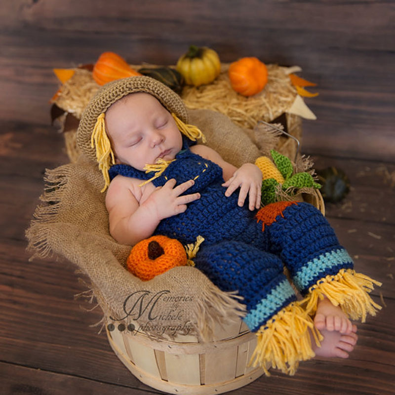 0 3 months costume newborn baby costume photography make up dress party cosplay suits straw man jack straw rompers