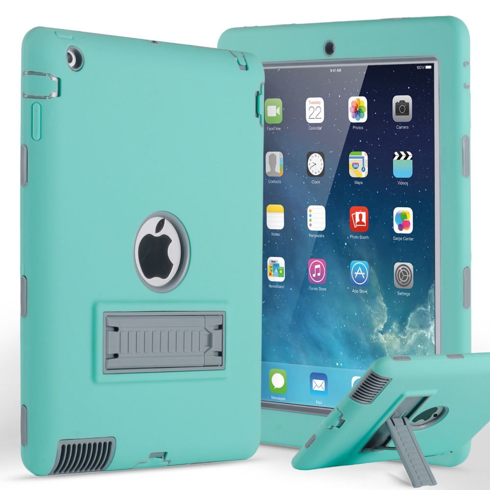 Shockproof Heavy Duty Case For IPad 2 3 4 Hybird Armor PC Rubber Silicone Kickstand Cover Coque For IPad 4 3 2 Case Anti-knock