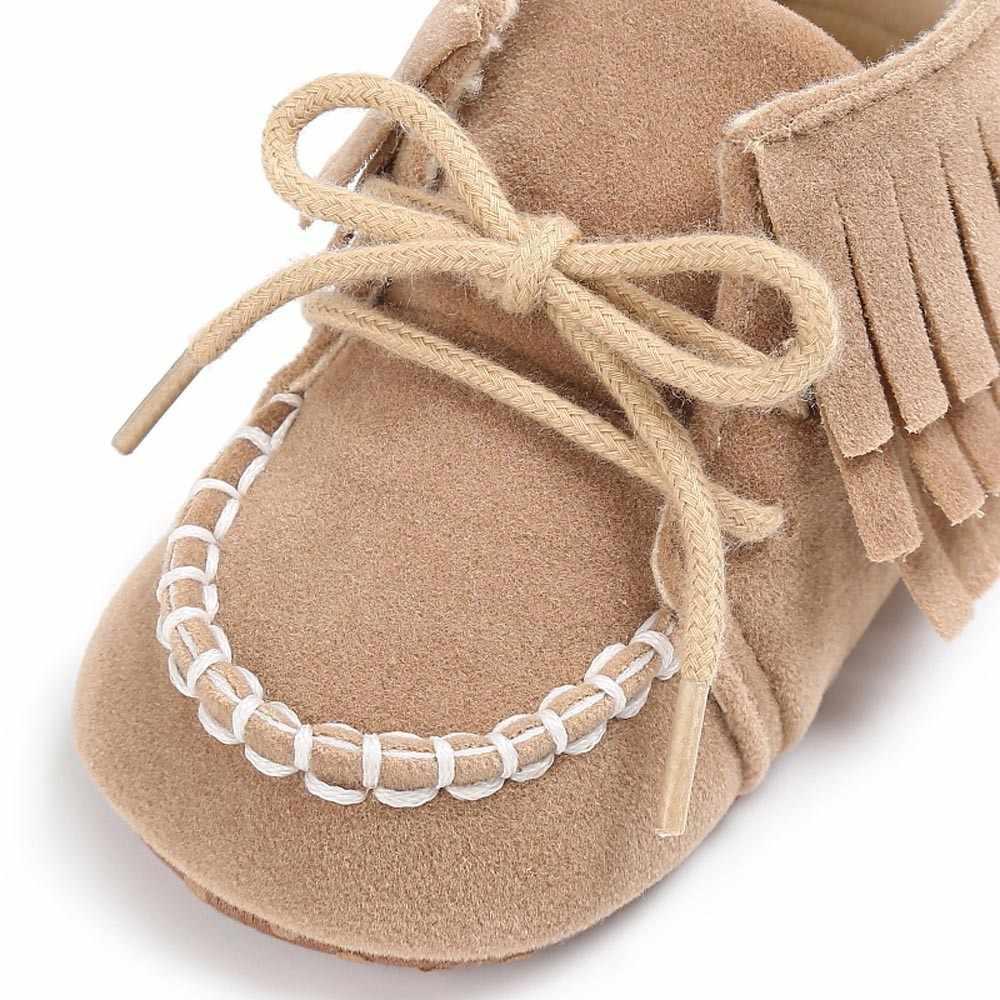 Новорожденных Для маленьких мальчиков девочек Мокасины бахрома на мягкой подошве нескользящая обувь для младенцев из искусственной замши Впервые Уокер обувь # N8