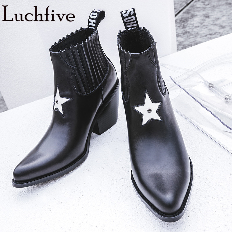 Ankle Boots Pointed Toe genuine Leather Women Booties five star decor chunky high Heels Motorcycle Shoes Woman martin boots 2018 new fashion spring autumn genuine leather motorcycle boots shoes woman pointed toe ankle boots chunky mid heels women shoes