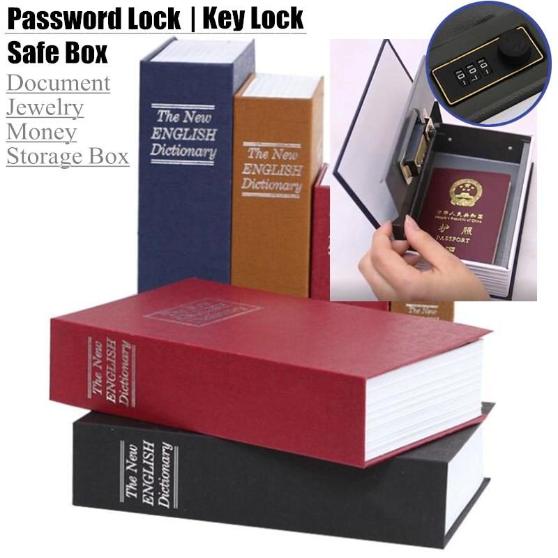 Kid Gift Dictionary Mini Safe Box Book Hidden Secret Security Safe Key Lock Money Jewellery Certificate Storage Password Locker