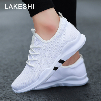 Casual Shoes Men Sneakers Fashion Breathable Mesh Shoes Slip-On Walking Shoes White Sneakers Male Shoes Solid Men Footwear tênis masculino lançamento 2019