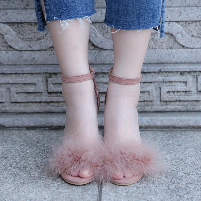2017 Sexy Women Suede Pumps Open Toe Heels Sandals Woman Sandals Ankle Strap Fur Wedding Shoes Women High Heels Dress Shoes