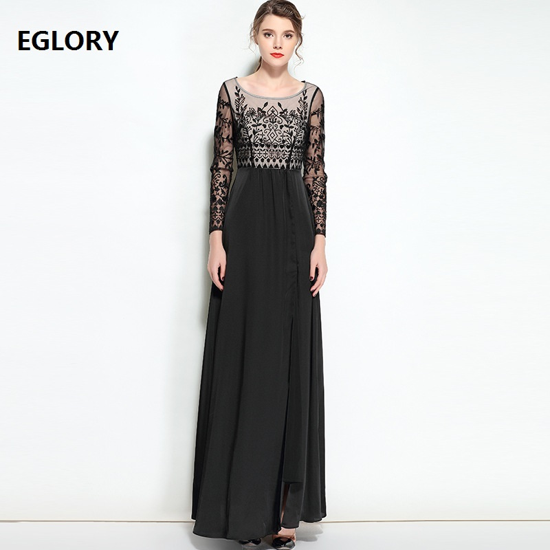 2018 Spirng Women Vintage Luxury Embroidery Long Dress Evening Womens Sexy Split Blue Black Party Maxi Dress Special Events XXL