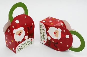 9*6*13CM Christmas Santa Claus Gifts Holder Candy Boxes Favor Paper Cookies Box 100pcs/lot Free shipping