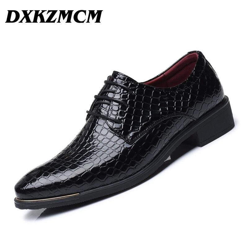 DXKZMCM 2018 Spring Autumn Men Formal Wedding Shoes Luxury Men Business Dress Shoes Men Oxfords Shoes цены онлайн