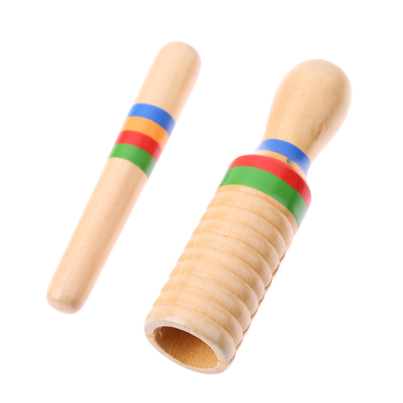 Kids Toy Sound Tube Wooden Crow Sounder Musical Toy Single-threaded Ring Percussion Musical Instrument Toy Baby Educational Toys