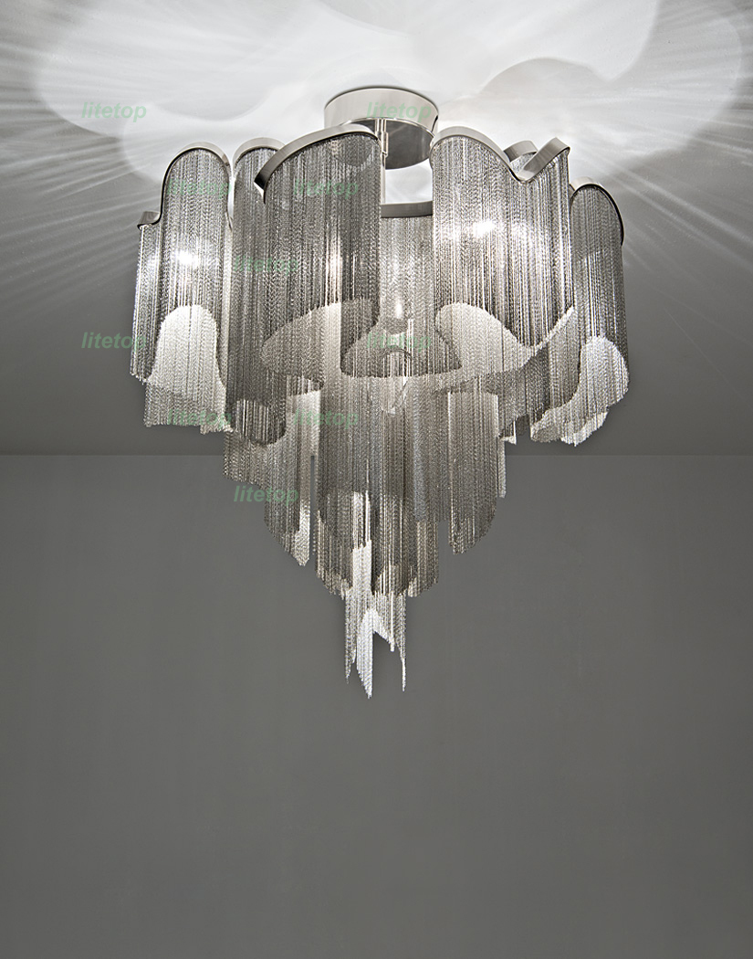 купить stream ceiling light aluminum chain modern novelty lighting fixture ceiling lamp iridescent light project недорого