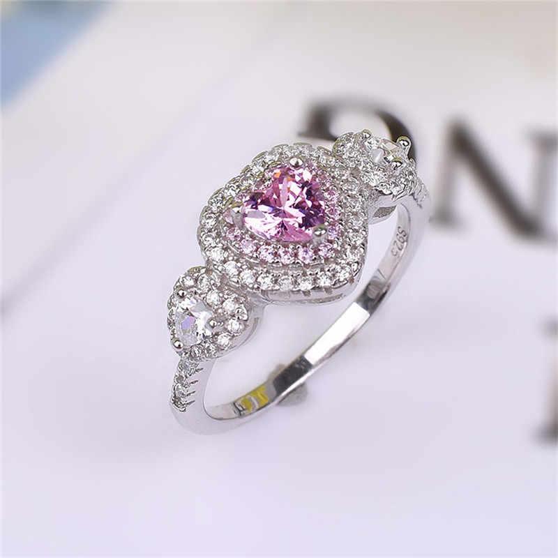 เลดี้คลาสสิก 925 เงินสเตอร์ลิงแหวนหัวใจสีชมพู SONA แหวนเพชรแต่งงานเครื่องประดับสำหรับขนาดผู้หญิง, 5,6, 7,8, 9,10