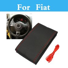 Leather Diy Car Steering Wheel Cover Case With Needles And Thread For Fiat 500 500x 600 Bravo Croma Linea Albea Barchetta