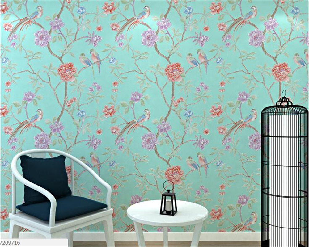 beibehang New Chinese Garden Birds Pastoral Nonwovens Wall paper American Living Room Bedroom Venture TV Background 3d wallpaper beibehang jin poou upscale living room bedroom tv background wallpaper pastoral retro non woven fabric gold silver wall paper