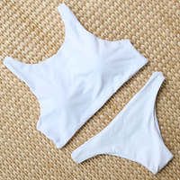 X HERR Bikinis Women 2017 High Neck Crop Top Swimwear Solid Padded Bandeau Swimsuit Skimpy Panty