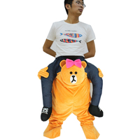 Holiday Halloween Novelties Ride on Brown Bear Costume Adult Animal Cartoon Bear Rider Role Play Mascot Costumes Cosplay Disfraz