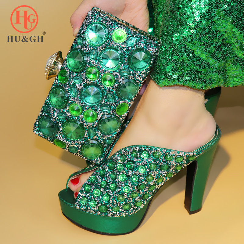 Fashion Green Color Shoes and Bag To Match Italian Women Shoe and Bag To Match for Parties African Shoes and Bags Matching Set red african wedding shoe and bag sets women shoe and bag to match for parties elegant italian women shoe and bag set