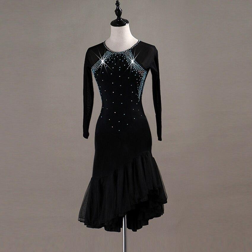 Femmes robe de danse latine formation latine robe de salon Costume adulte danse pratique Performance robe - 3
