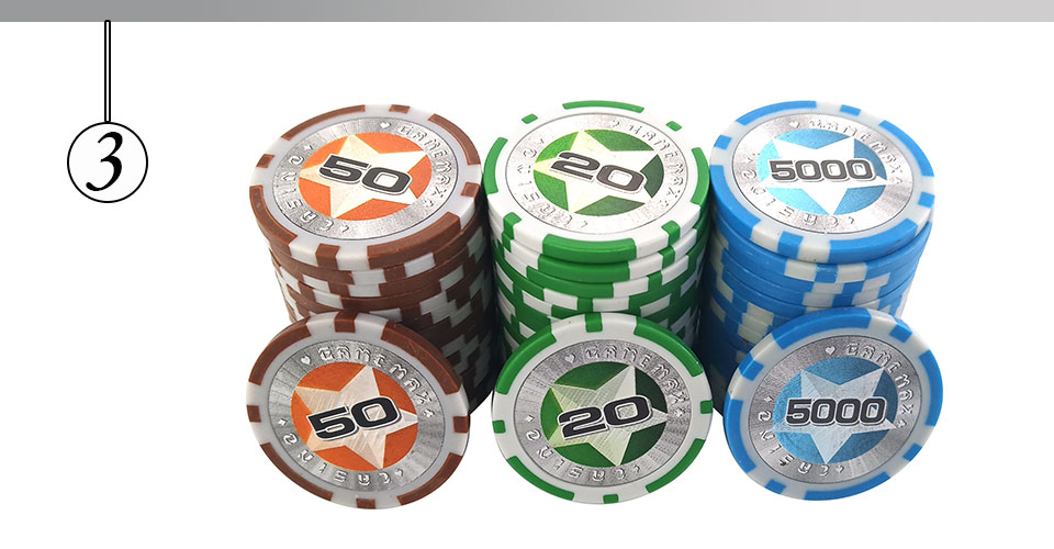 Easytoday 25Pcsset Plastic Poker Chips Set Clay Baccarat High Texas Hold'em Standard Entertainment Games Chips  (3)