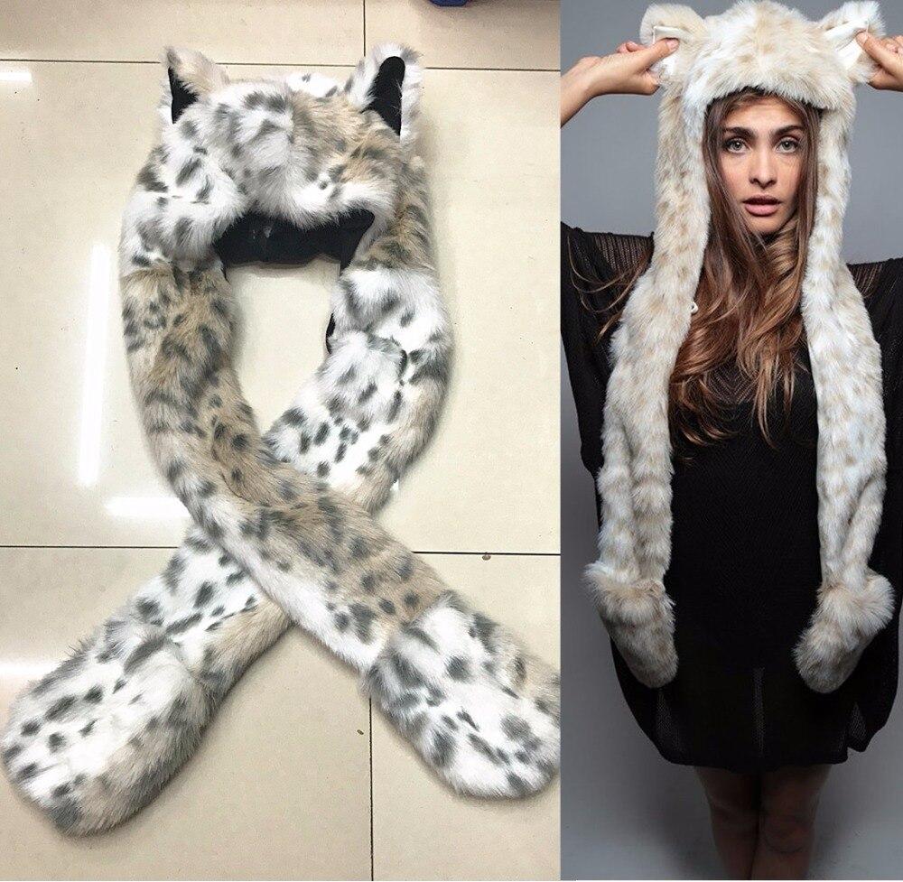 New Fashion Imitation Fur Hat Cartoon Animal Hat Scarf Gloves Integration Man &Women Winter Cap