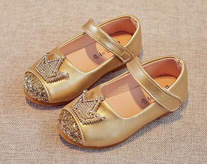 Girls Shoes Princess Crown Shoes Gold Black Kids Spring Autumn Shoe Nina Sapatos Glitter Holiday Shoes Wedding Birthday Party