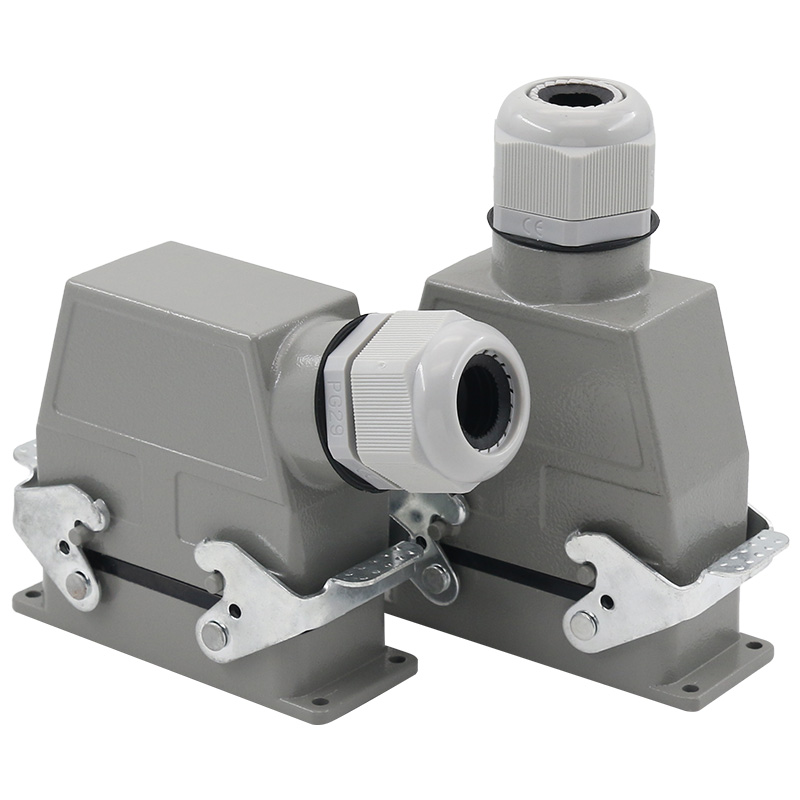 Heavy duty connector 32 core cold pressed rectangular air plug socket Hdc-hee-032 industrial waterproof socket 16A heavy load connector plug socket surface mounted hdc ha 016 3 rectangle 16a heat flux avenue 16 core