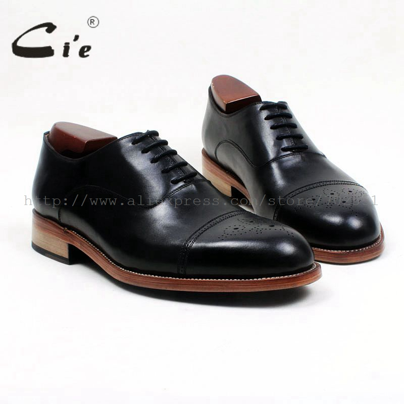 cie round toe full brogues medallion black 100genuine calf leather men's shoe goodyear welted bespoke leather man shoe OX533